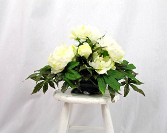 Shabby Chic Centerpiece, Spring Peonies, Spring Arrangement, Cream Centerpiece, Spring Decor, Green Centerpiece, Vintage Planter