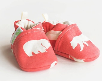 Organic Knits Vegan Bears in Coral / All Fabric Soft Sole Baby Shoes / Made to Order / Babies