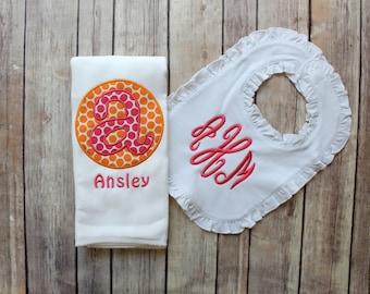 Monogrammed Baby Girl Burp Cloth and Bib Set, Personalized Girl Burp Cloth Bib Baby Gift, Baby Shower Gift, New Baby Monogrammed Gift, Pink