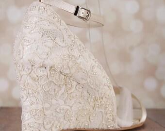 Wedding Shoes, Lace Wedding Wedges, Ivory Lace Wedges, Ivory Wedding Shoes, Custom Wedding Shoes, Ivory Lace, Wedge Wedding Shoes