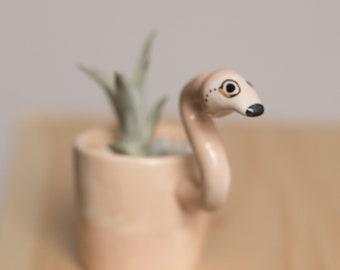 Flamingo Monomal (Flamingo animal planter, Cute vase, animal monocle planter, animal plant, flamingo decor, pot, air plant)