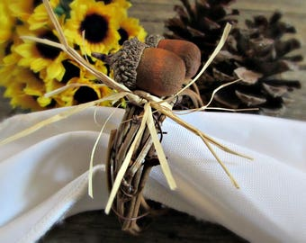 Thanksgiving Napkin Rings, Thanksgiving Hostess Gift, Thanksgiving Table Decor, Thanksgiving Decoration Wreath, Thanksgiving Napkin Holders