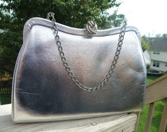 Vintage Silver Evening Bag With Silver Chain and Clasp