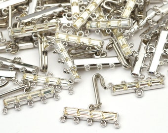 70 pcs 5 to 1 connectors, vintage German base metal and clear glass rhinestones, CLOSEOUT, 24mm