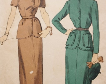 Button Front Belted Jacket,  Skirt Sewing Pattern, Advance 5026, 1940s, Bust 30