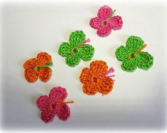 Butterfly crochet cotton Apple green, orange and fuchsia