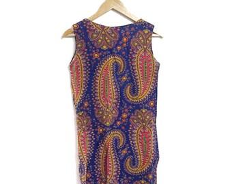 60s 70s Handmade Paisley Mini Shift Dress