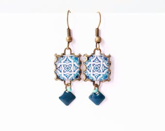 Floral tile Earrings with vintage drawings. Blue & white  Herbal earrings. Arabesque.