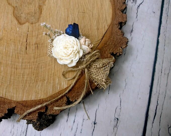 Burlap sola flowers wedding boutonniere in navy caramel and ivory rustic groom groomsman dried flowers small winter fall elegant wedding