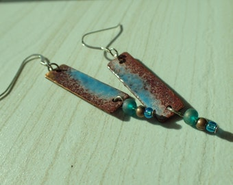 Hammered Copper and Glass Enameled Earrings