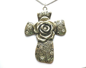 HUGE Etched Silvertone Rhinestone Rose Cross, Vintage Heavy Metal Rose Silvertone Cross, Silvertone XL Cross, Silver Rose Cross with Chain