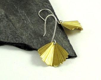 Brass Ruffled Fan Petal Sterling Silver Earrings