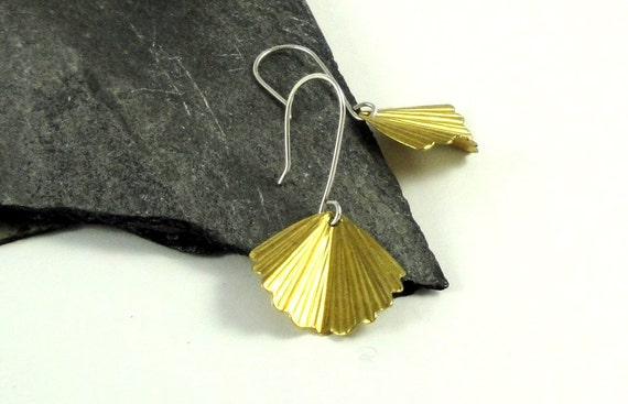Brass Ruffled Fan Petal Sterling Silver Earrings