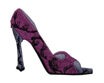 ID 7414 Purple Stiletto Shoe Patch High Heel Fashion Embroidered IronOn Applique