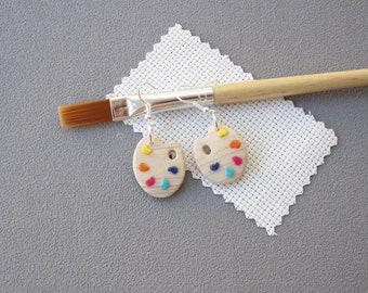 Boucles d'oreilles palette de peintre et couleurs en pâte polymère fimo, imitation bois,  idée cadeau maitresse, boucles oreilles couleur