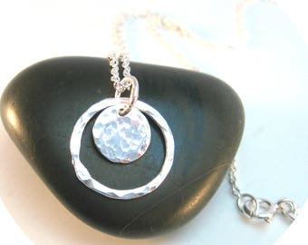 Hammered Disc Necklace in Sterling Silver Everyway Jewelry, Silver Necklace