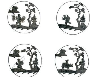 Vintage Asian Tin Landscape Wall Art // Tin Stamp Asian Landscape // Asian Black Wall Decor // 4 Round Landscapes