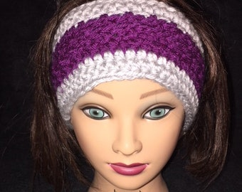 Dark Purple and Gray Crochet Ear Warmer, Ear Warmer, Head Wrap