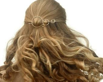 Silver hair clip hair pin round wire hair barrette minimalist shawl pin simple scarf pin brooch metal hair accessories hair slide for her