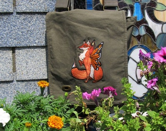Fairy Fox Canvas Messenger Bag