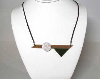 Tan, Green, Pearl Pendant on Leather Cord