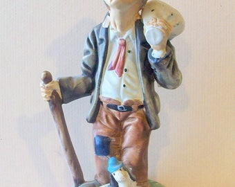 Hobo With His Dog Statue Made in Portugal Circa 1970  BX8  472322160