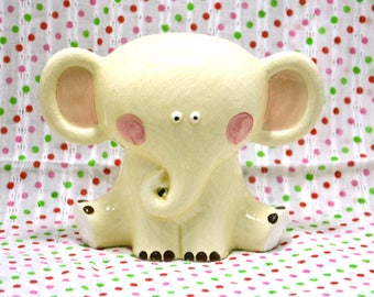 SALE - RARE Vintage Ceramic Elephant Figurine Piggy Coin Bank from Japan 60s