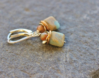 Jasper Flower Earrings, Silver Gemstone Earrings, Aquaterra Jasper, Snakeskin jasper earrings, Gift for Mom, dangle earrings, Minimalist