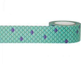 MERMAID TAIL Paper Tape - 10 yards - 1 inch - Gift Wrap - Packaging - Mermaid Party - Mermaid Invitation supply