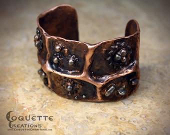 Aged Hammered Copper Steampunk Cuff Bracelet