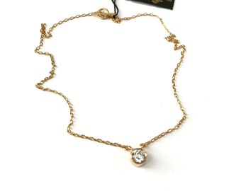 Vintage Gold Plated 1ct  Cubic Zirconia Choker Necklace