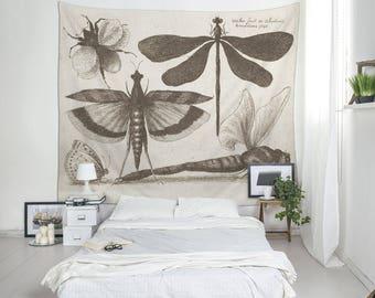 Vintage Print, Botanical Tapestries, Insect Wall Art, Botanical Wall Decor, Vintage Illustration, Botanical Print, Insect Tapestry