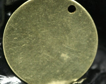 50 Pcs Raw Brass 20 mm Circle tag 1 hole Charms ,Findings 61R-62