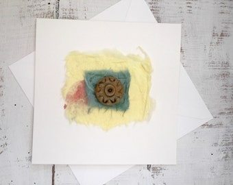 Handmade greeting card, ceramic gift card.  Blank for all occasions