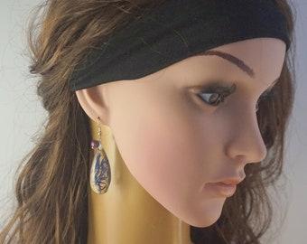 Cornflower blue earrings real flower jewelry Long earrings Tourmaline jewelry flower gift for wife nature jewelry blue flowers earrings
