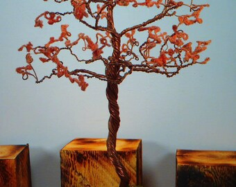 Hand twisted copper bonsai with pink blossoms