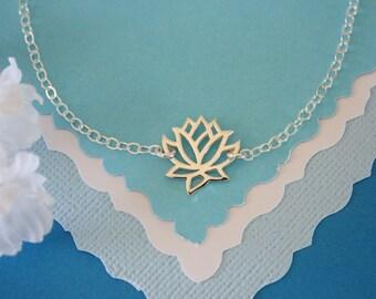 Lotus Anklet,  Silver Anklet, Yoga Bracelet, Lotus Flower, Karma Anklet, Sterling Silver