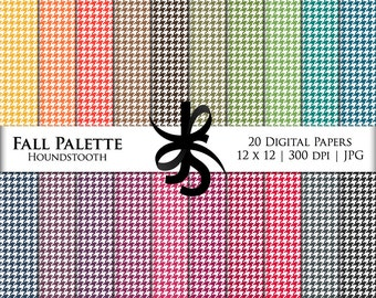 Digital Scrapbook Papers-Fall Palette Houndstooth-Autumn-Preppy-Fall Clipart-Backgrounds-Wallpaper-Printable-Instant Download Clip Art