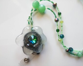 Green handmade beaded Lanyard with badge reel. Perfect 2 in 1 gift mother's day!!