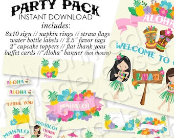 Luau Printable Party Pack - Instant Download - NOT personalized