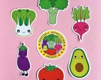 Cute Vegetables sticker set- laptop stickers - vegan vegetarian vinyl sticker - veggie sticker