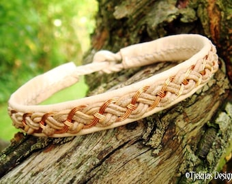 Nordic Pagan Viking Bracelet Unisex DRAUPNIR Cuff with Copper Wire Braid on Natural Leather and Antler Closure