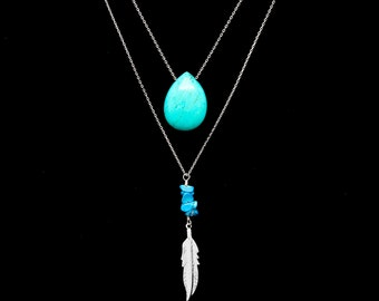 Turquoise and Silver Feather Long Necklace, Double Necklace, Layered Necklace, Turquoise Briolette Drop