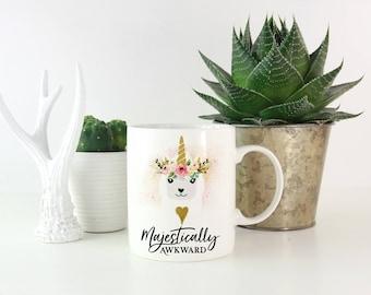 Majestically Awkward, Majestically Awkward Mug, Alpaca Coffee Mug, llama Coffee Mug, Unicorn Coffee Mug, Funny Coffee Mug, Cute Coffee Mug