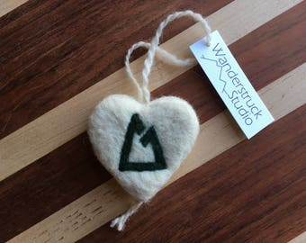 Colorado Trail Ornament - Handcrafted, Felted Wool Heart with Hiking Blaze Symbol for Gift or Christmas Tree