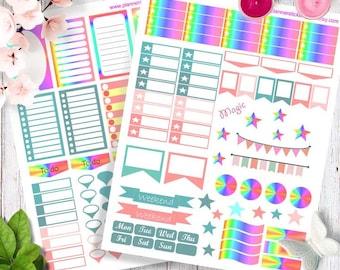 Printable Planner Stickers, Happy planner stickers, Erin Condren stickers, Magic rainbow