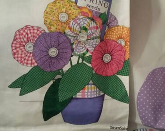 Yo  Yo Bouquet Fabric Panel, Oop. Fabric Flower Bouquet,
