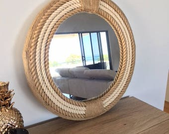 Nautical Hampton Elegant Round Rope Mirror Twisted Rope Home Decor Art Wall Hanging Medium Mirror 56cm