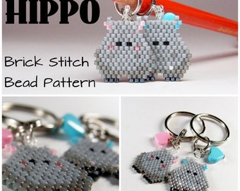 Hippo  - Seed Bead PATTERN, Brick Stitch Animal, Delica Beads