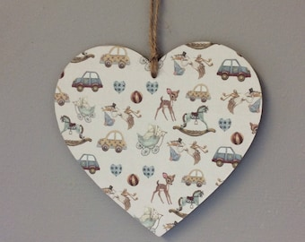 Handmade wooden hanging heart Bambi baby boy gify baby shower